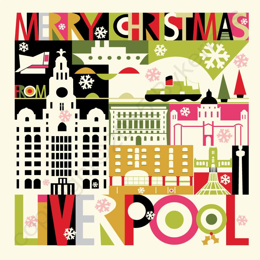 Large Scouse Scape Christmas Card by Wotmalike