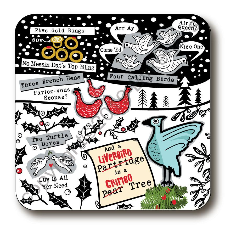 Scouse 5 Days of Christmas Cork Backed Coaster by Wotmalike