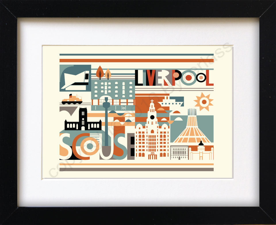 Scouse City Scape Brights Print Mounted Print