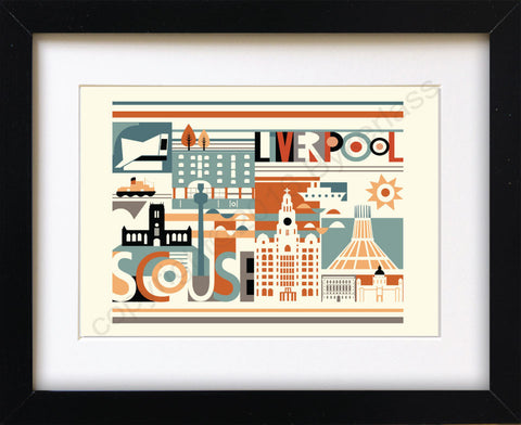 Scouse City Scape Brights Print Mounted Print (SSP5)