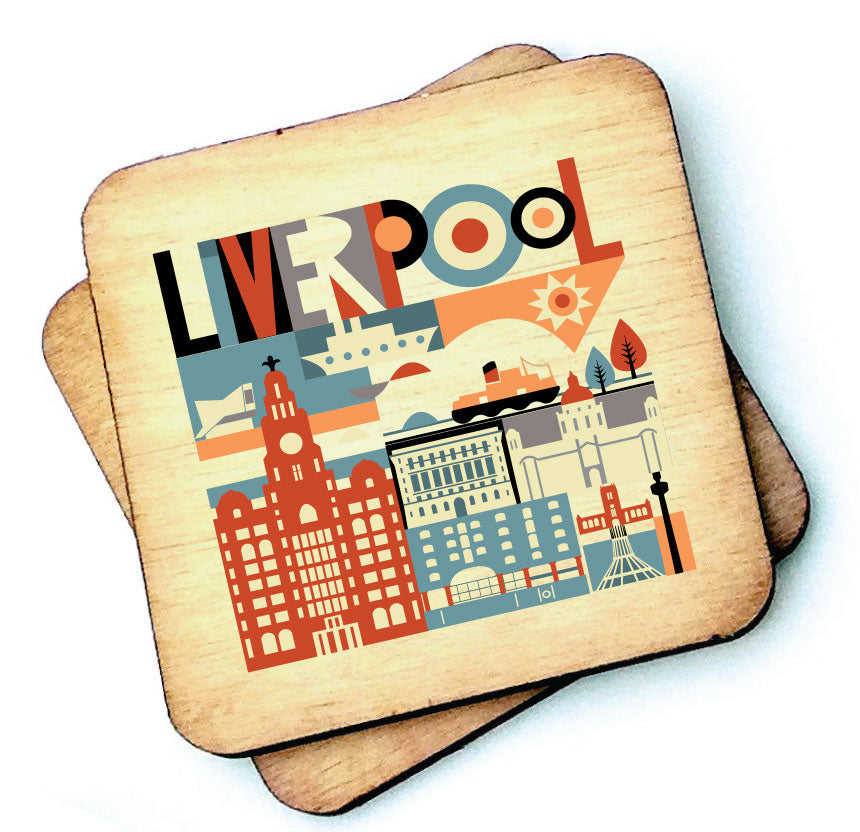 Scouse City Brights Wooden Coasters by Wotmalike