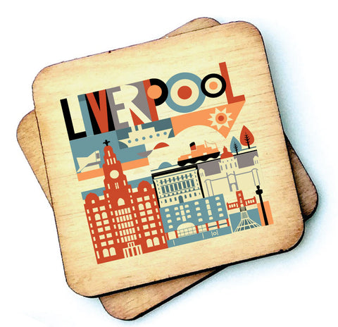 Scouse City Wooden Coasters - RWC1