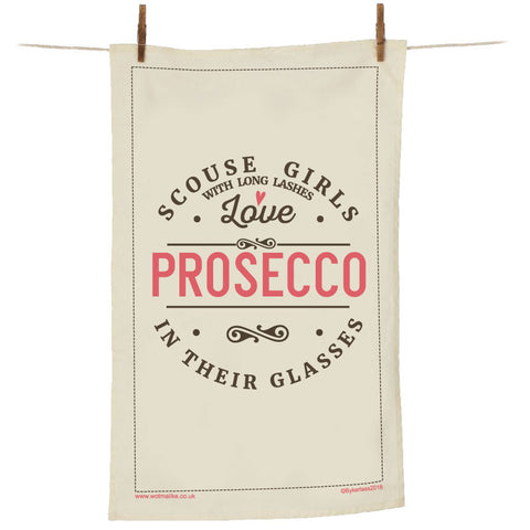 Scouse Girls With Long Lashes Love Prosecco In Their Glasses Tea Towel - SGTT1