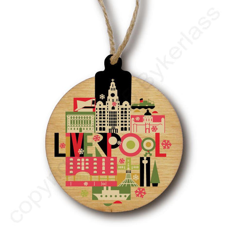 Liverpool City Scape Rustic Wooden Christmas Bauble  - DOUBLE SIDED  RWB1