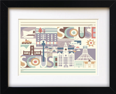 Scouse Scape Mounted Print (SSP3)