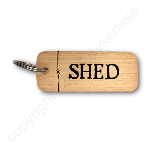Shed Rustic Wooden Keyring - RWKR1