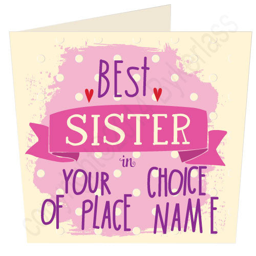 "Best Sister in ""Your Choice"" Personalised place card"