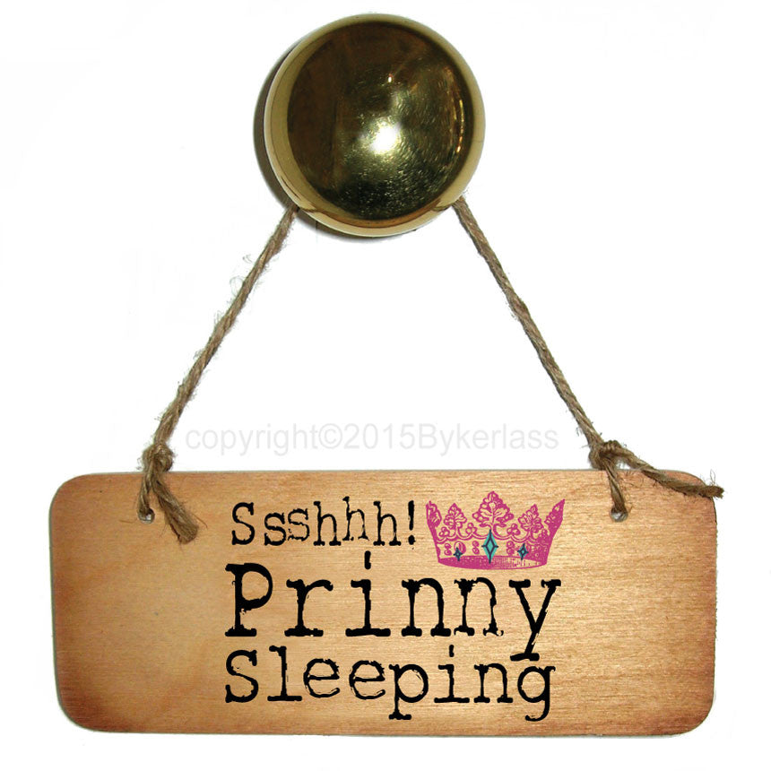 Ssshhh! Prinny Sleeping Rustic Scouse Wooden Sign