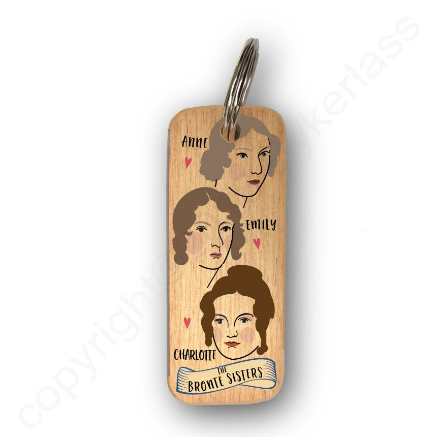The Bronte Sisters Character Wooden Keyring By Wotmalike