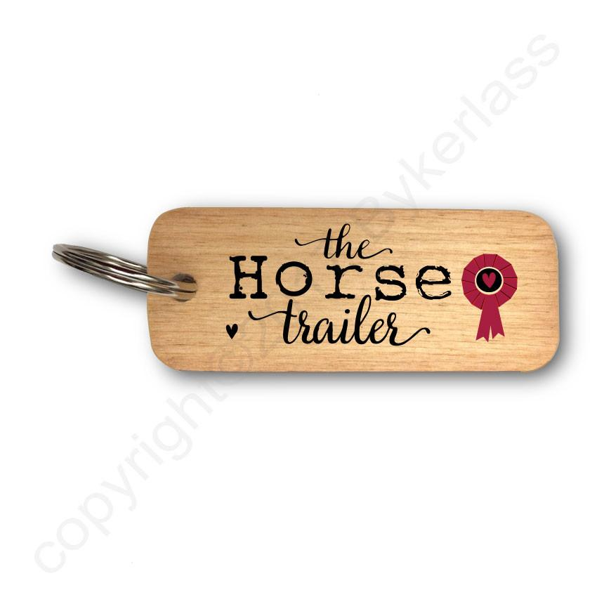 The Horse Trailer -  Rustic Wooden Keyring
