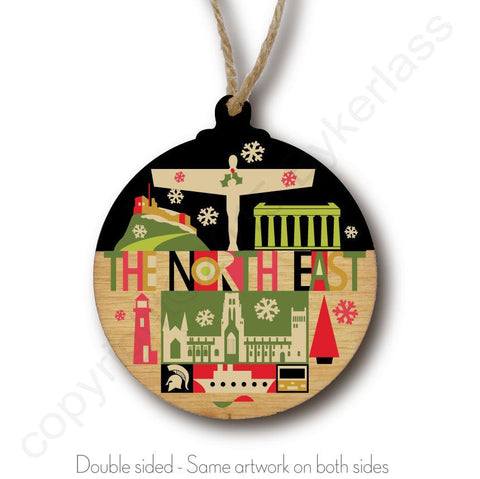 North East Landscape Rustic Wooden Christmas Bauble  - DOUBLE SIDED  RWB1