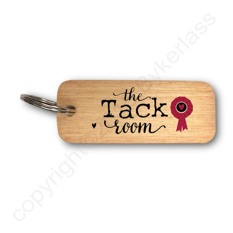 The Tack Room  - Horse Rustic Wooden Keyring - RWKR1