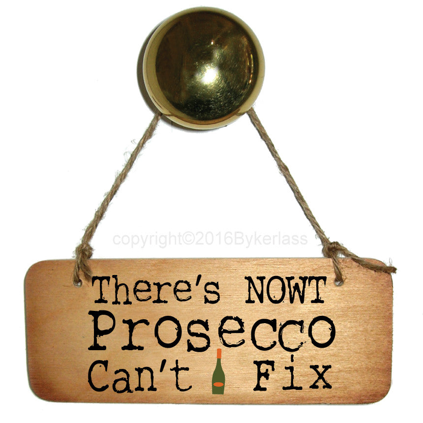 There's Nowt Prosecco Can't Fix Fab Wooden Sign by Wotmalike