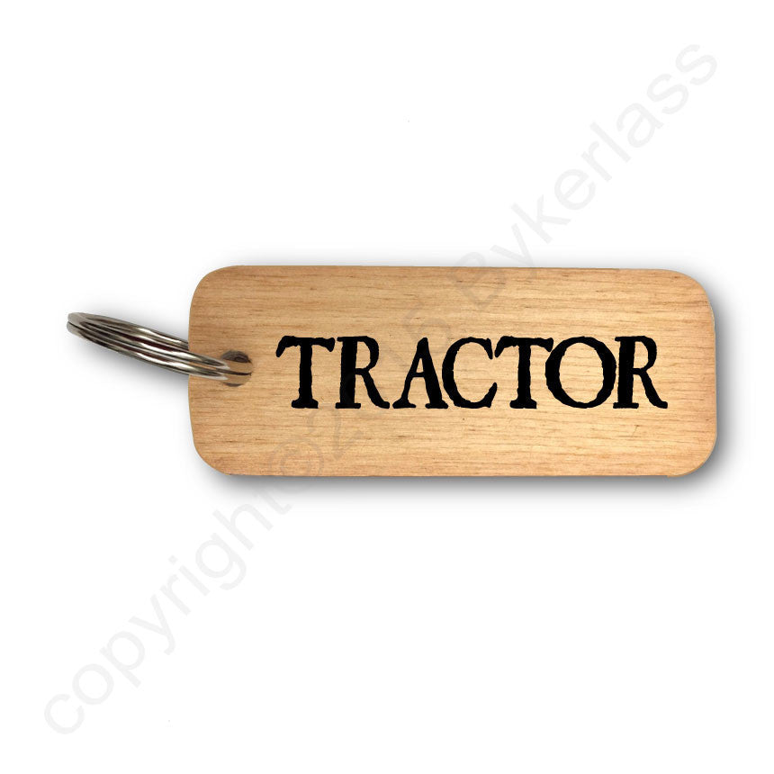 Tractor Rustic Wooden Keyring