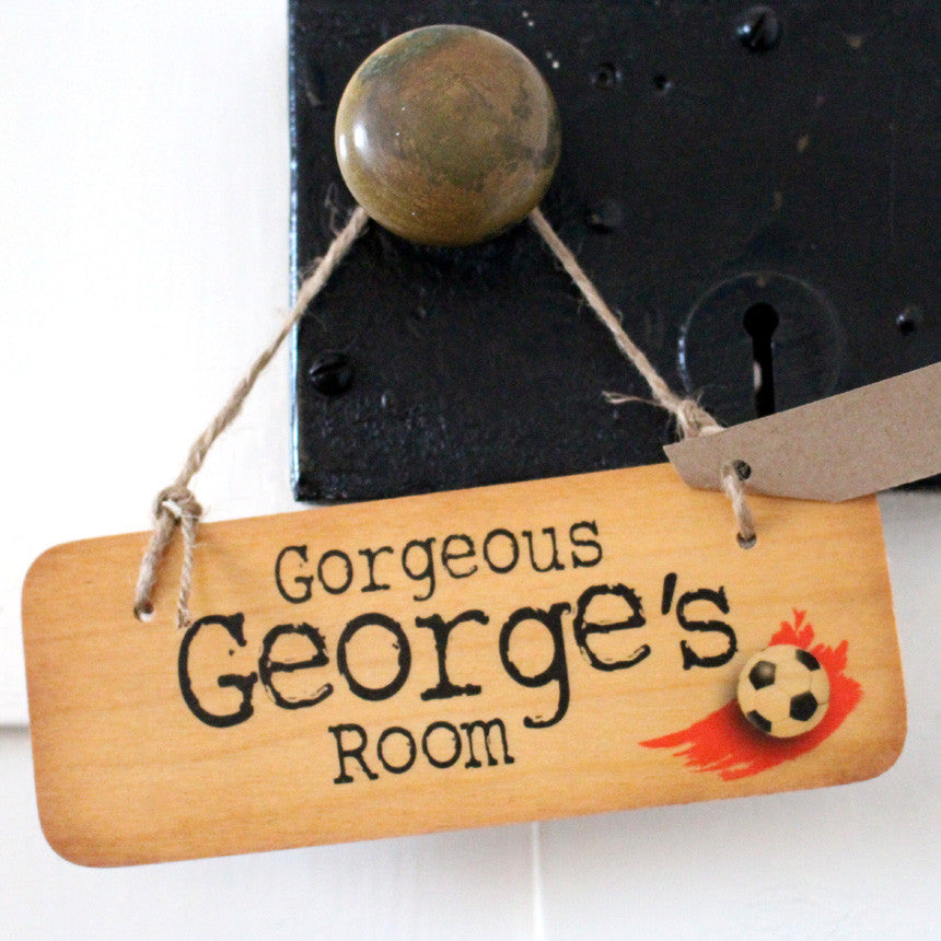 "Football Themed ""You Choose the Name"" Personalised Rustic Wooden Sign - RWS1"