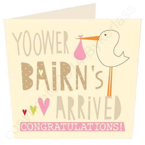 Yoower Bairn's Arrived Girl - Cumbrian New Baby Card