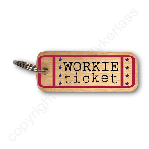 Workie Ticket Geordie Rustic Wooden Keyring - RWKR1