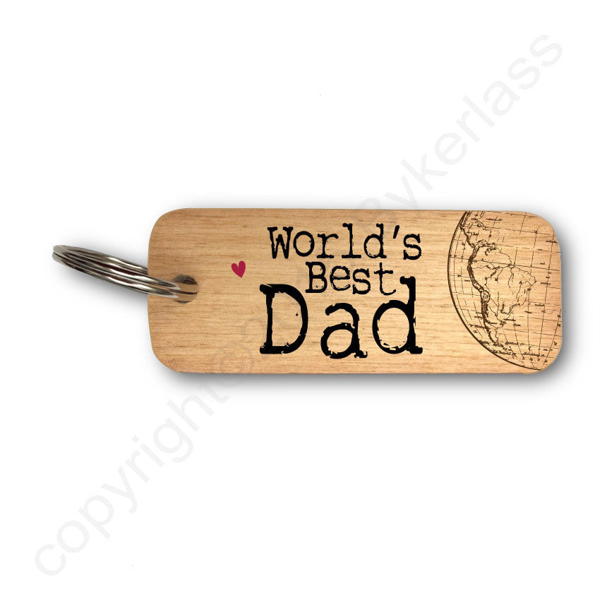 World's Best Dad Rustic Wooden Keyring