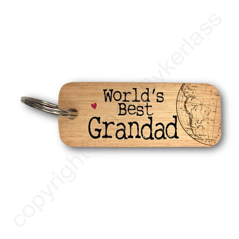World's Best Grandad Father's Day Wooden Keyring - RWKR1
