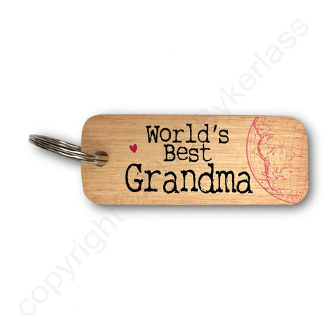 Worlds Best Grandma  Keyring - Mothers Day Gift - RWKR1