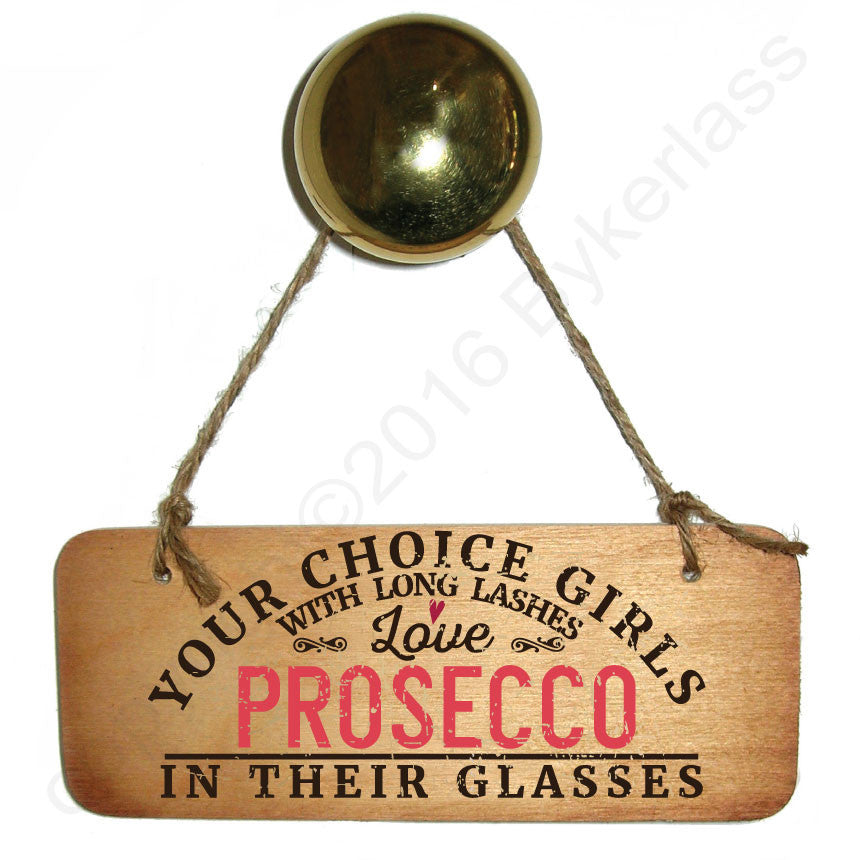 YOUR CHOICE Girls with Long Lashes Love Prosecco In Their Glasses Wooden Sign
