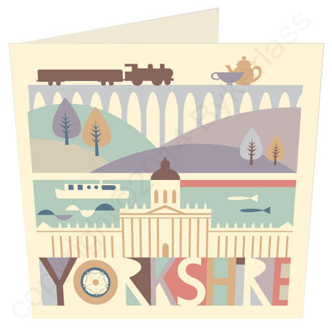 Yorkshire Scape with Train - Yorkshire Card (YY19)