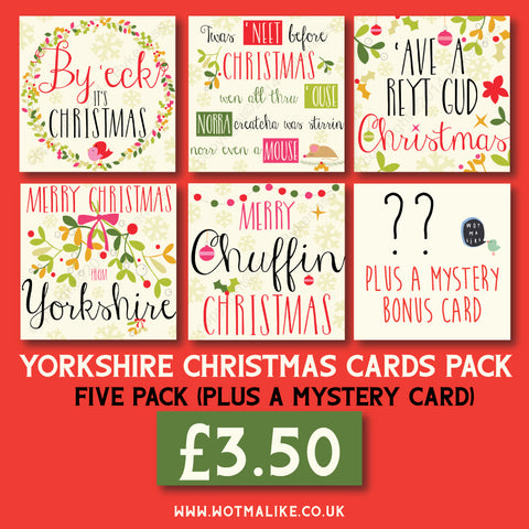5 Yorkshire Christmas Cards PLUS a mystery Freebie Card **SALE** grab a bargain! --- YX99
