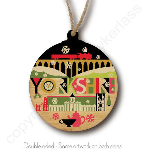Yorkshire Scape N1 Rustic Wooden Christmas Bauble  - DOUBLE SIDED  RWB1