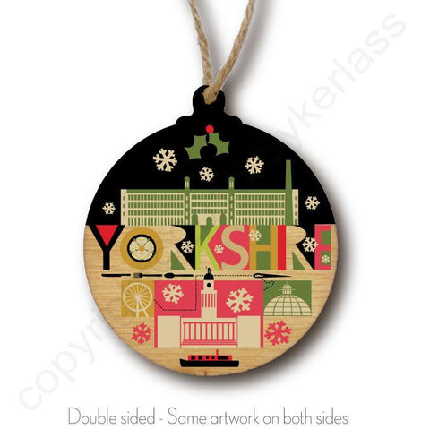 Yorkshire Scape S1 Rustic Wooden Christmas Bauble  - DOUBLE SIDED  RWB1
