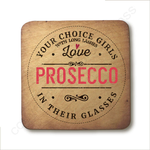 Personalised Girls with Long Lashes Love Prosecco In Their Glasses Wooden Coaster  - RWC1