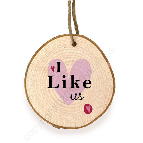 I Like Us Hanging Wooden Slice Ornament  - WSB