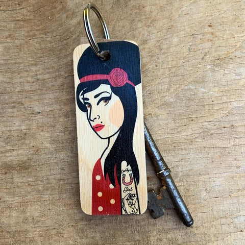 Amy Winehouse Character Wooden Keyring - RWKR1