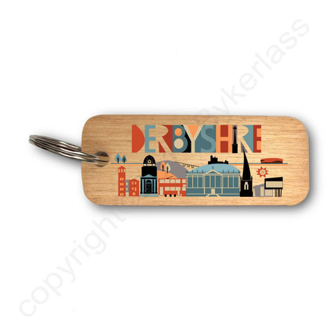NEW! Derbyshire Scape Brights Wooden Keyring - RWKR1