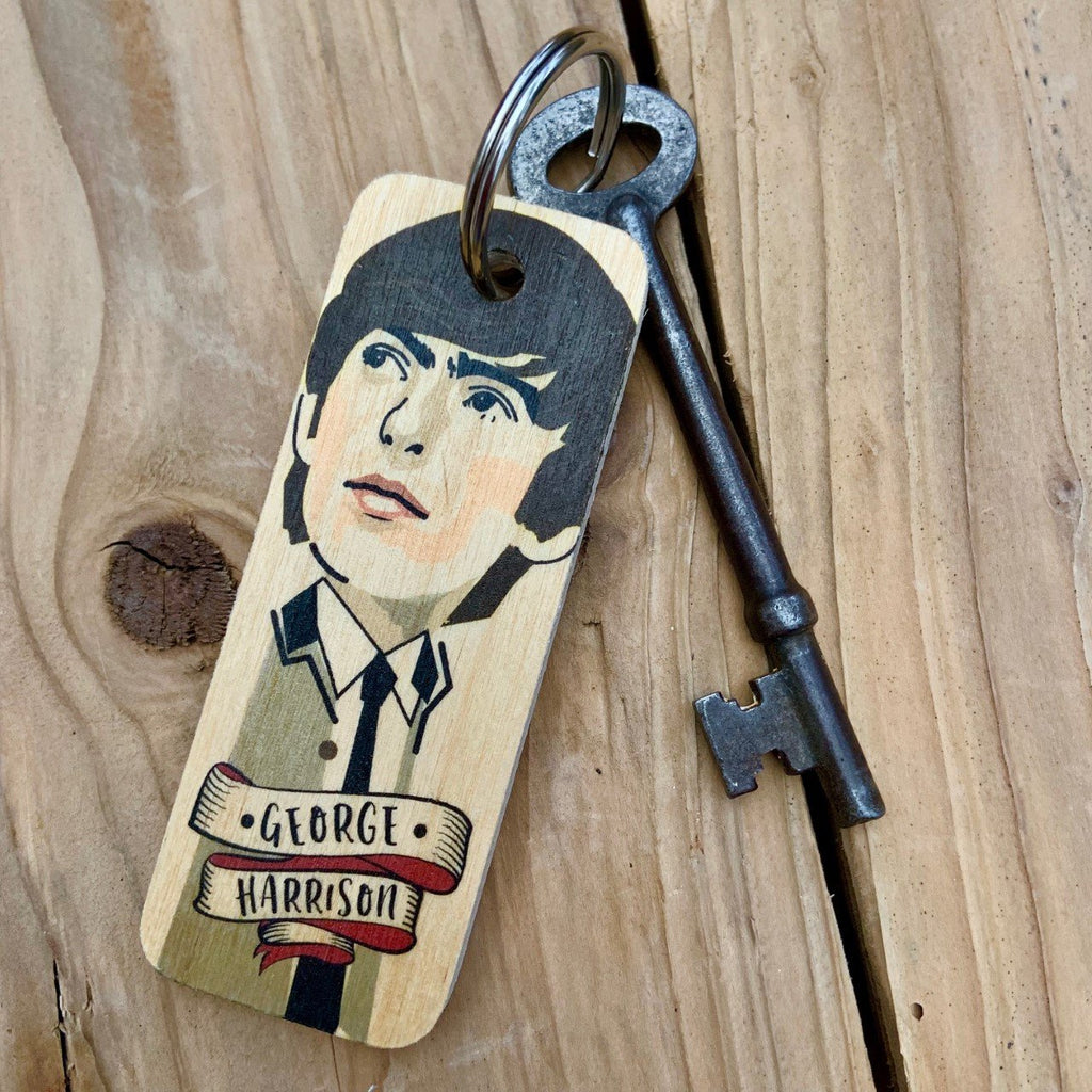 George Harrison Character Wooden Keyring by Wotmalike