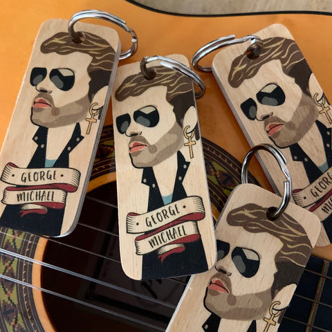 George Michael Character Wooden Keyring - RWKR1