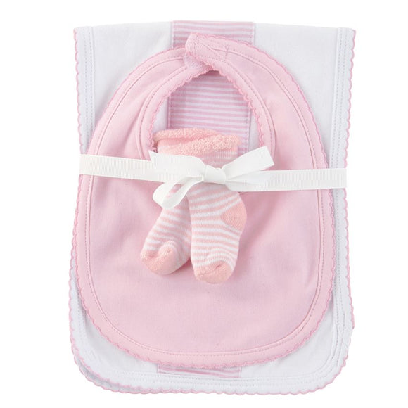 Mud Pie Pink Burp Bib & Sock Set