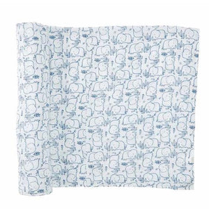 Mud Pie Blue Elephant Muslin Swaddle Blanket
