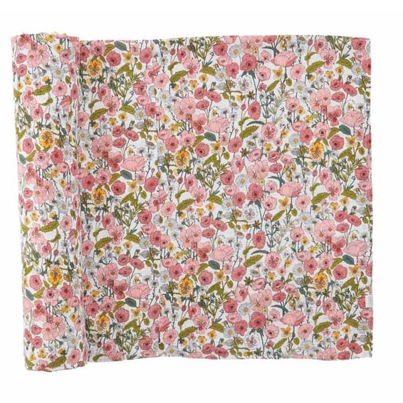 Mud Pie Fall Floral Muslin Swaddle Blanket