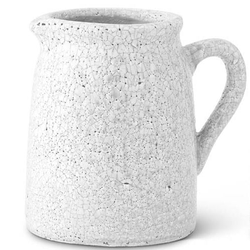 K & K Interiors White Crackle Glazed Terracotta Pitcher - Large