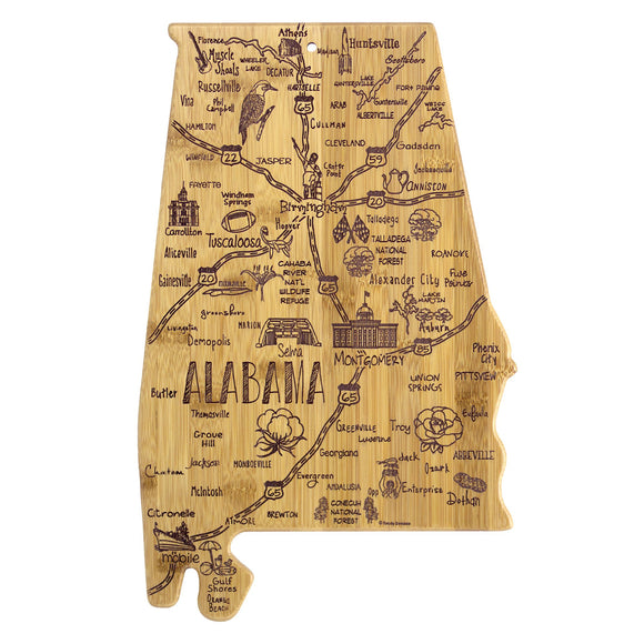 Destination Alabama State Shaped Bamboo Serving and Cutting Board