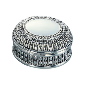Silver Plated Round Box w/Beaded Antique Design