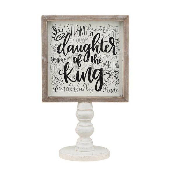 Glory Haus Daughter of The King Affirmation Mirror Wood Stand