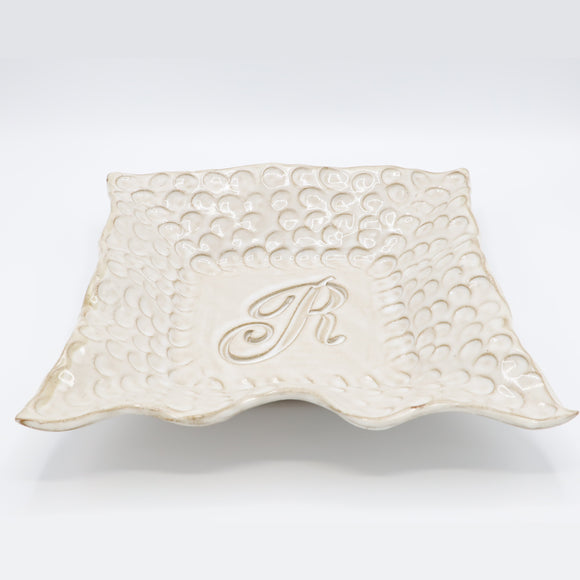 Fingerprint Large Square Monogram Bowl w/Letter R - White Linen