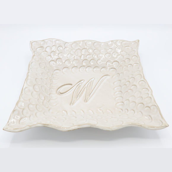 Fingerprint Large Square Monogram Bowl w/Letter W - White Linen