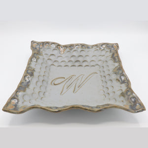 Fingerprint Large Square Monogram Bowl w/Letter W - River Rock