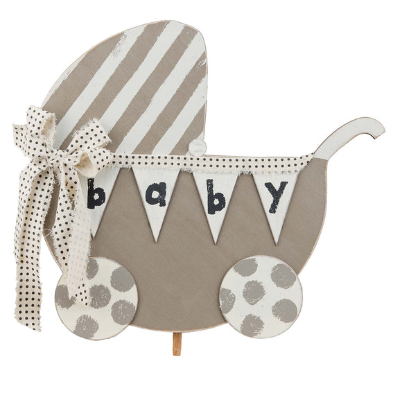 Glory Haus Baby Carriage Welcome Wood Board Topper