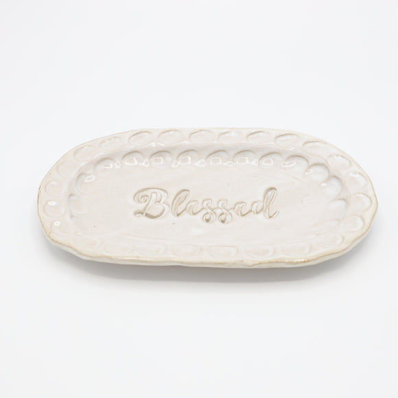 Fingerprint Small Oval Tray w/Blessed - High Cotton