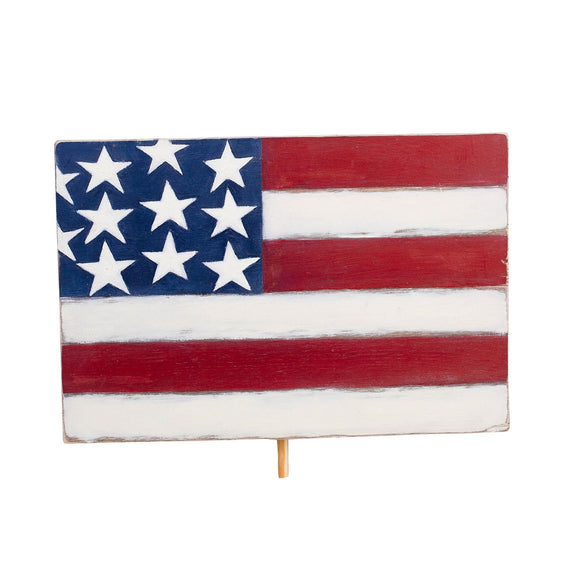 Glory Haus American Flag Welcome Wood Board Topper