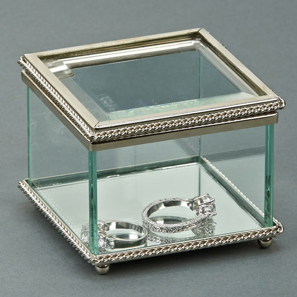 Square Glass Box w/Hindged Cover 3.25