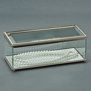 Rectangular Glass Box w/Hindged Cover